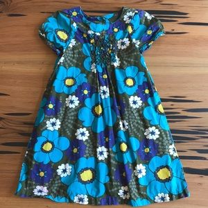 Olive Green and Blue Flowered Dress